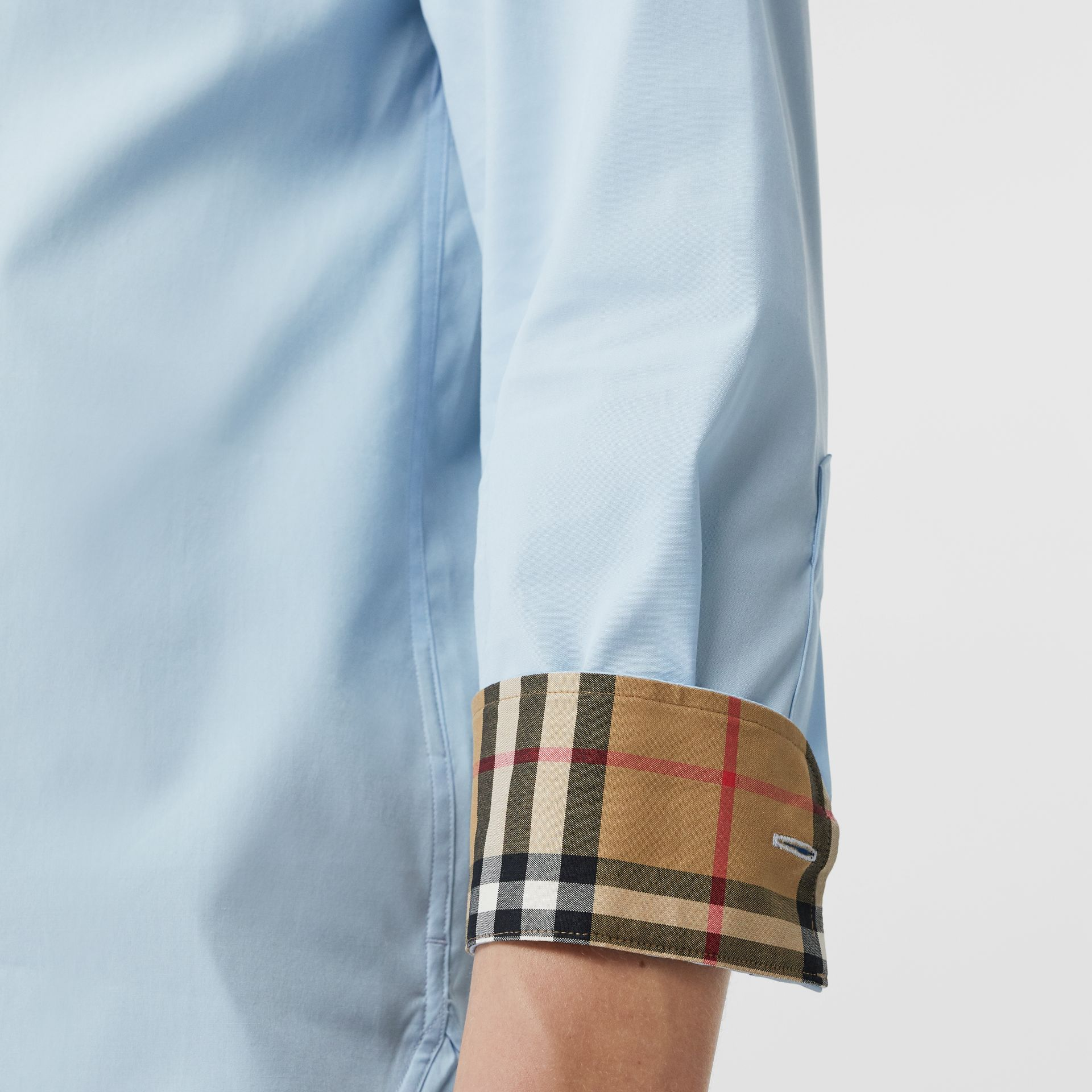 Check Cuff Stretch Cotton Poplin Shirt in Pale Blue - Men | Burberry - gallery image 4