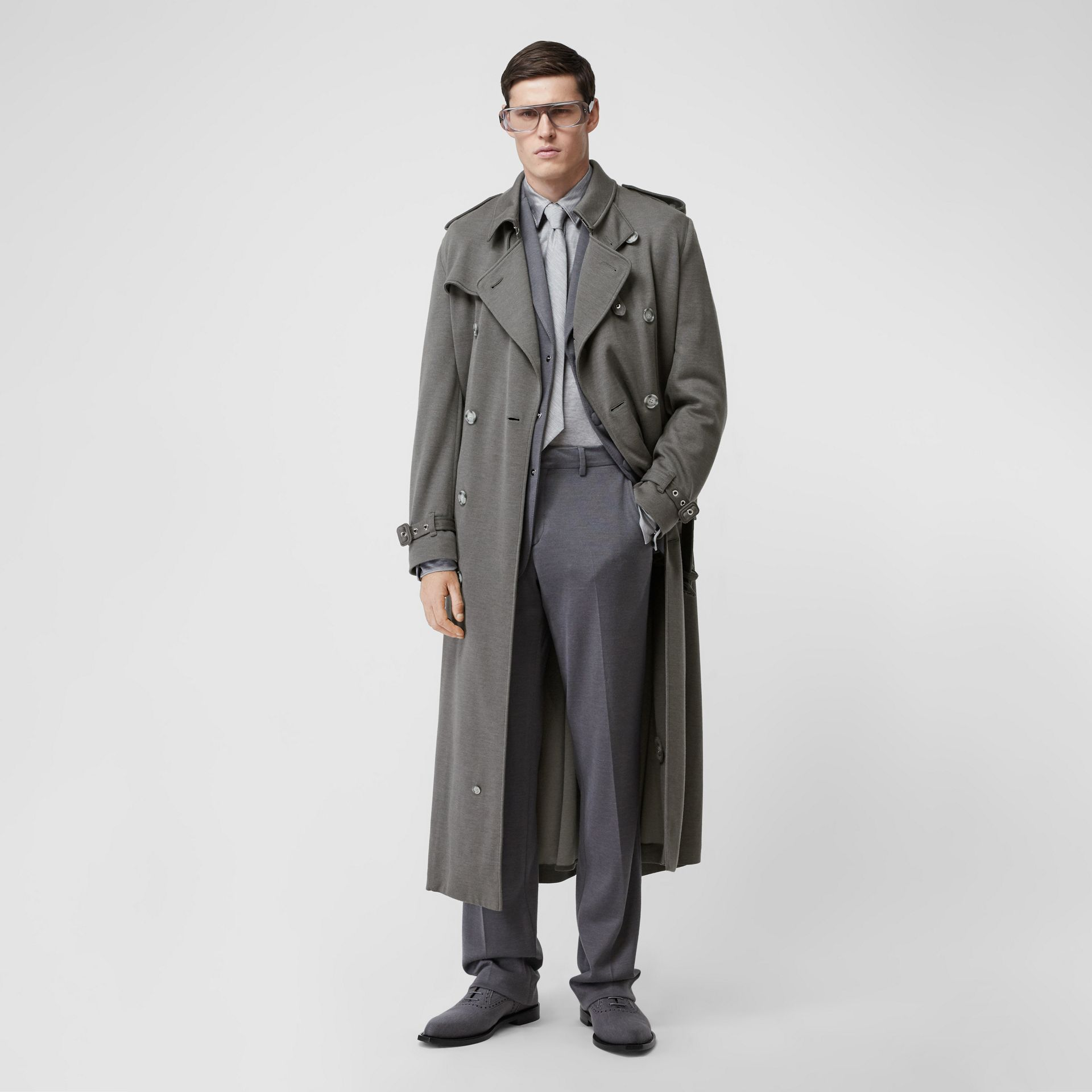 Cargo Pocket Detail Cashmere Silk Trench Coat in Cloud Grey - Men | Burberry - gallery image 0