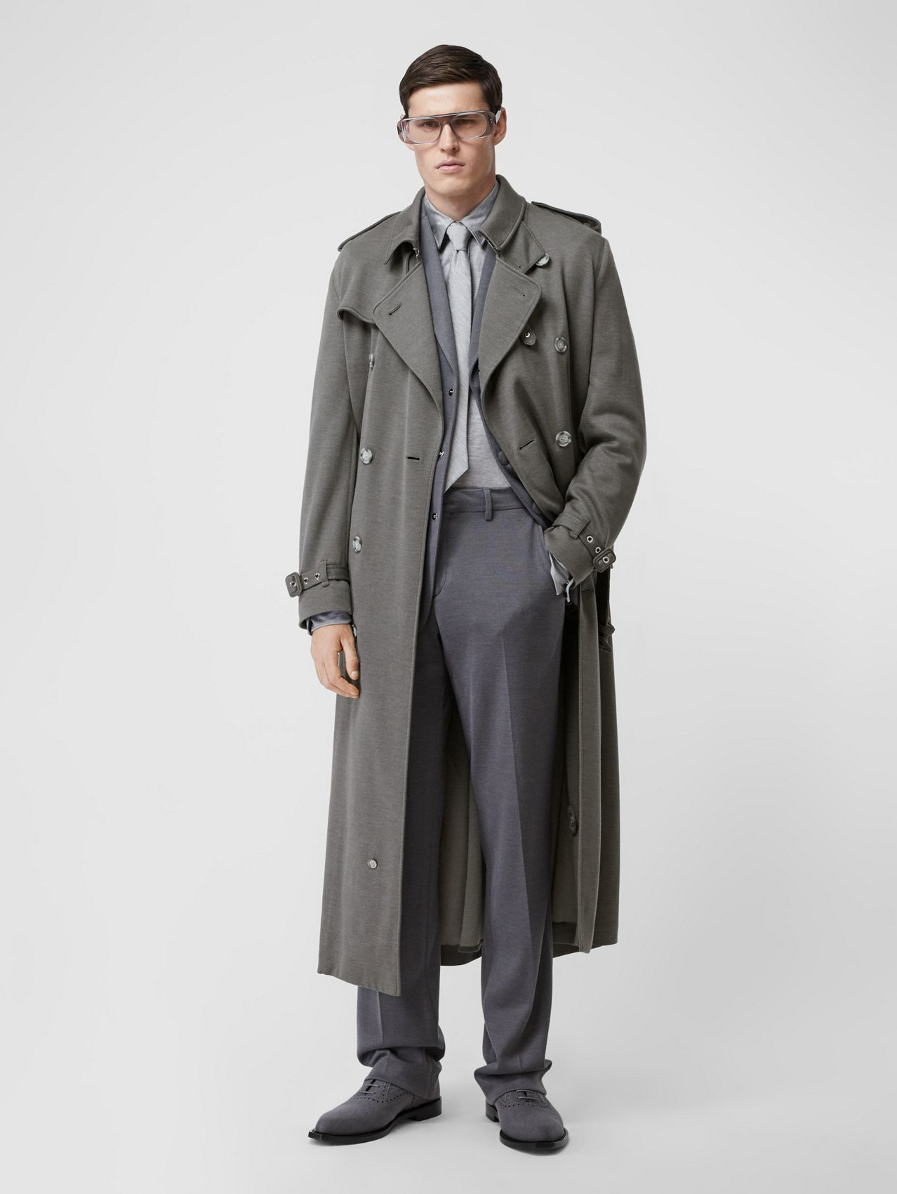 Cargo Pocket Detail Cashmere Silk Trench Coat in Cloud Grey