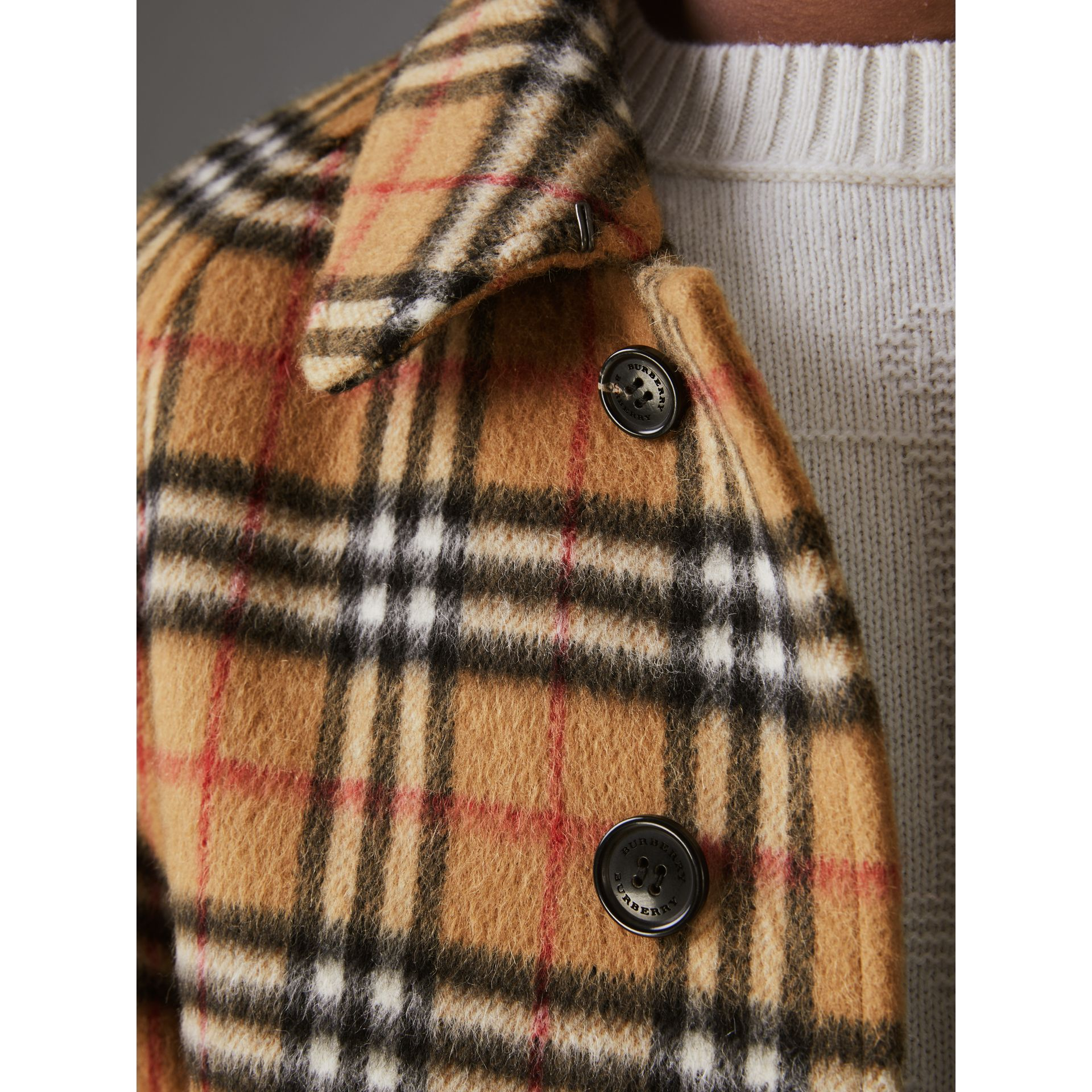Vintage Check Alpaca Wool Car Coat in Antique Yellow - Men | Burberry - gallery image 1