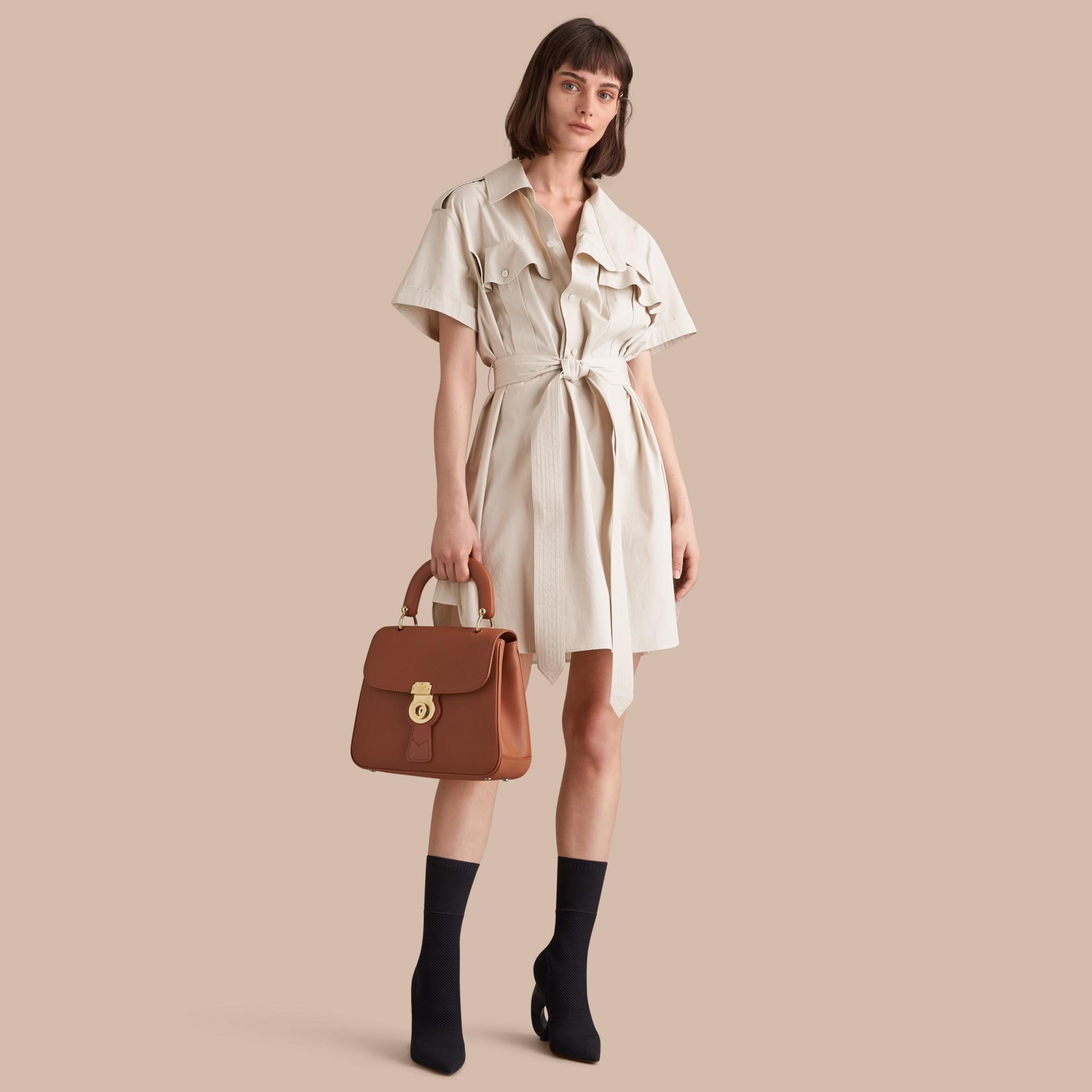 Tie-waist Cotton Shirt Dress - gallery image 1