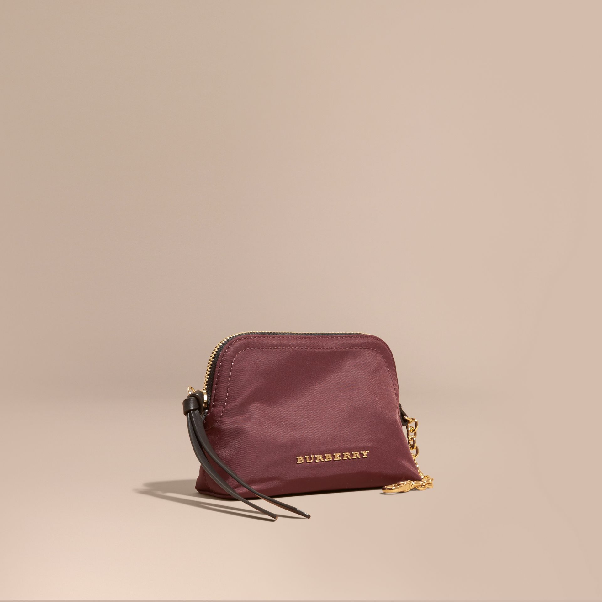 Small Zip-top Technical Nylon Pouch in Burgundy Red - Women | Burberry - gallery image 1