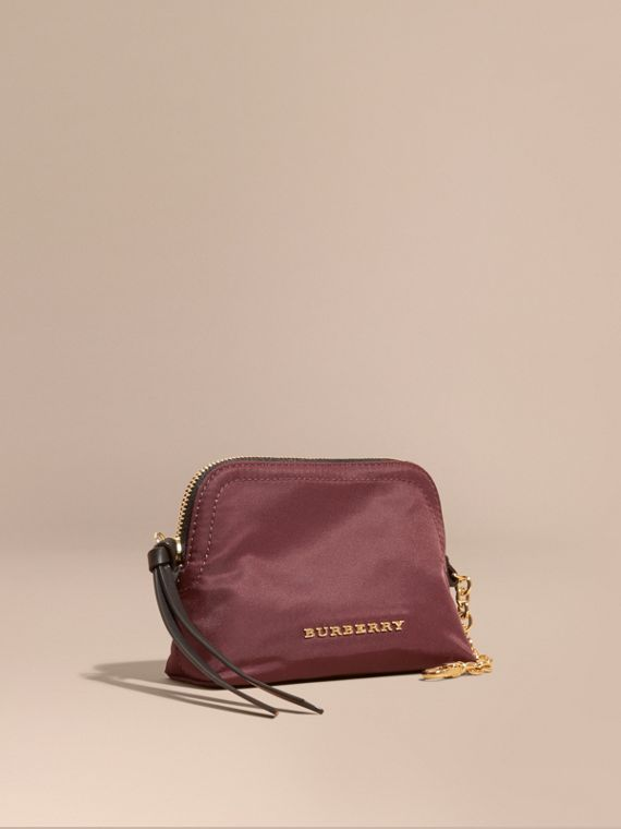 Small Zip-top Technical Nylon Pouch in Burgundy Red