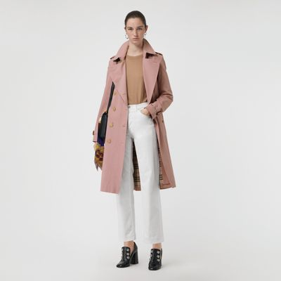 The Kensington - Mid-Length Heritage Trench Coat in Chalk Pink