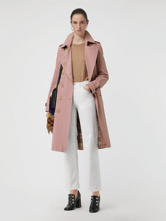 Trench coat in gabardine tropicale (Rosa Gesso)