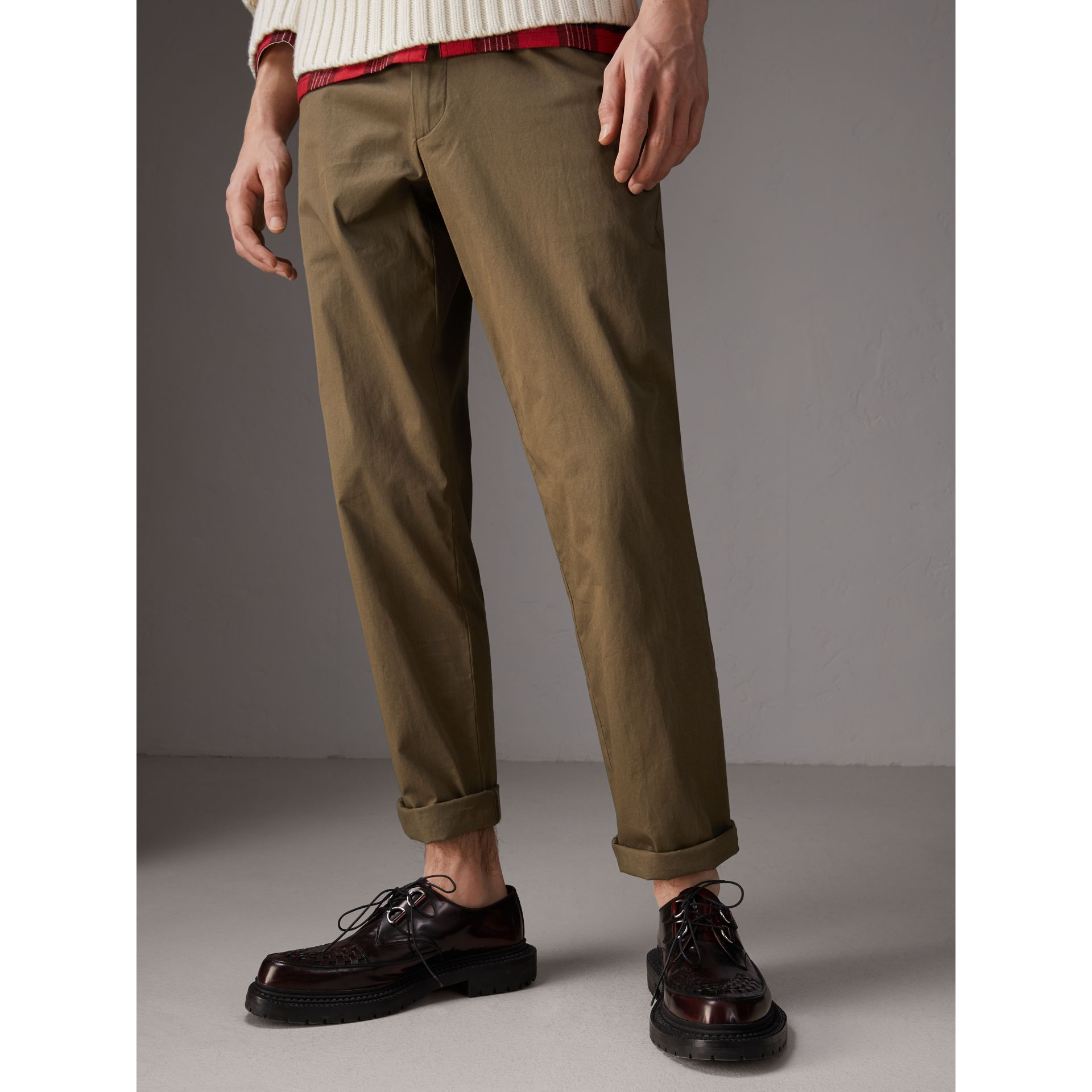 Cotton Twill Chinos in Olive Green - Men | Burberry - gallery image 3