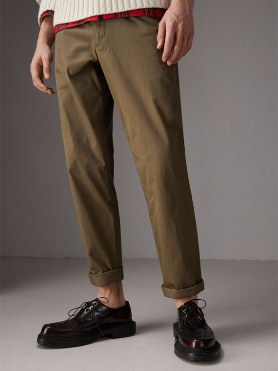Cotton Twill Chinos in Olive Green - Men | Burberry - cell image 3