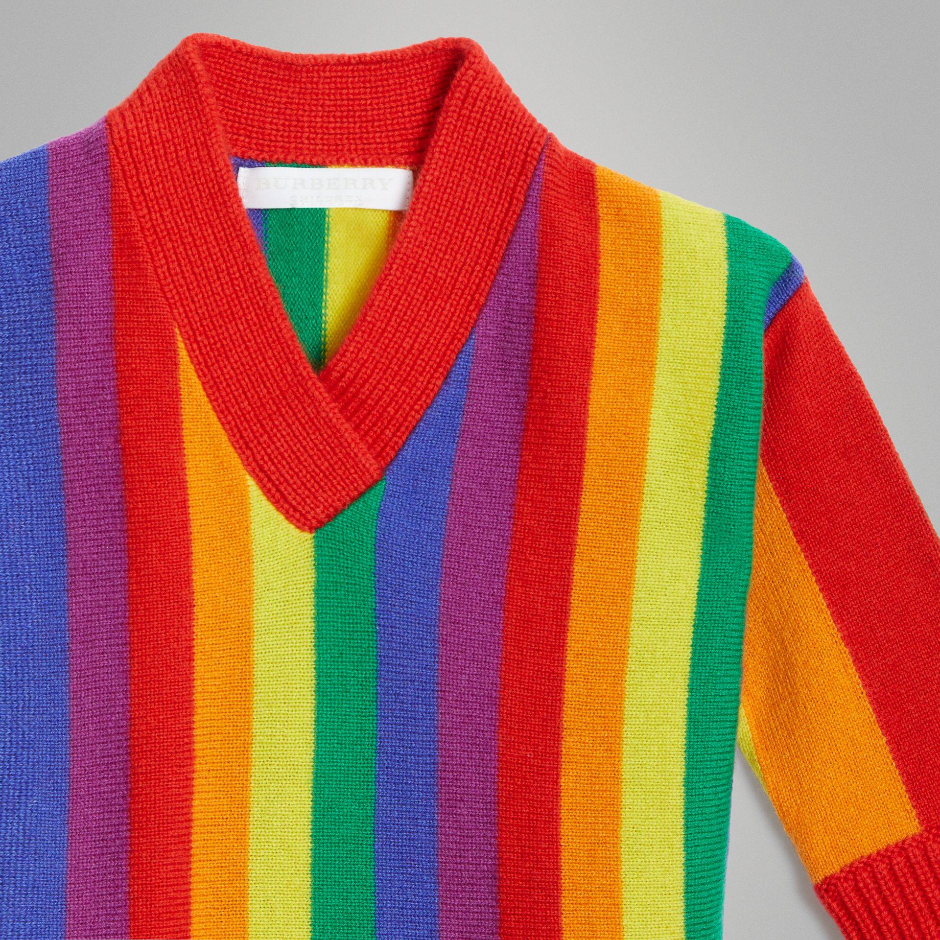 Striped Wool Cashmere Sweater Dress in Multicolour - Children | Burberry - gallery image 4