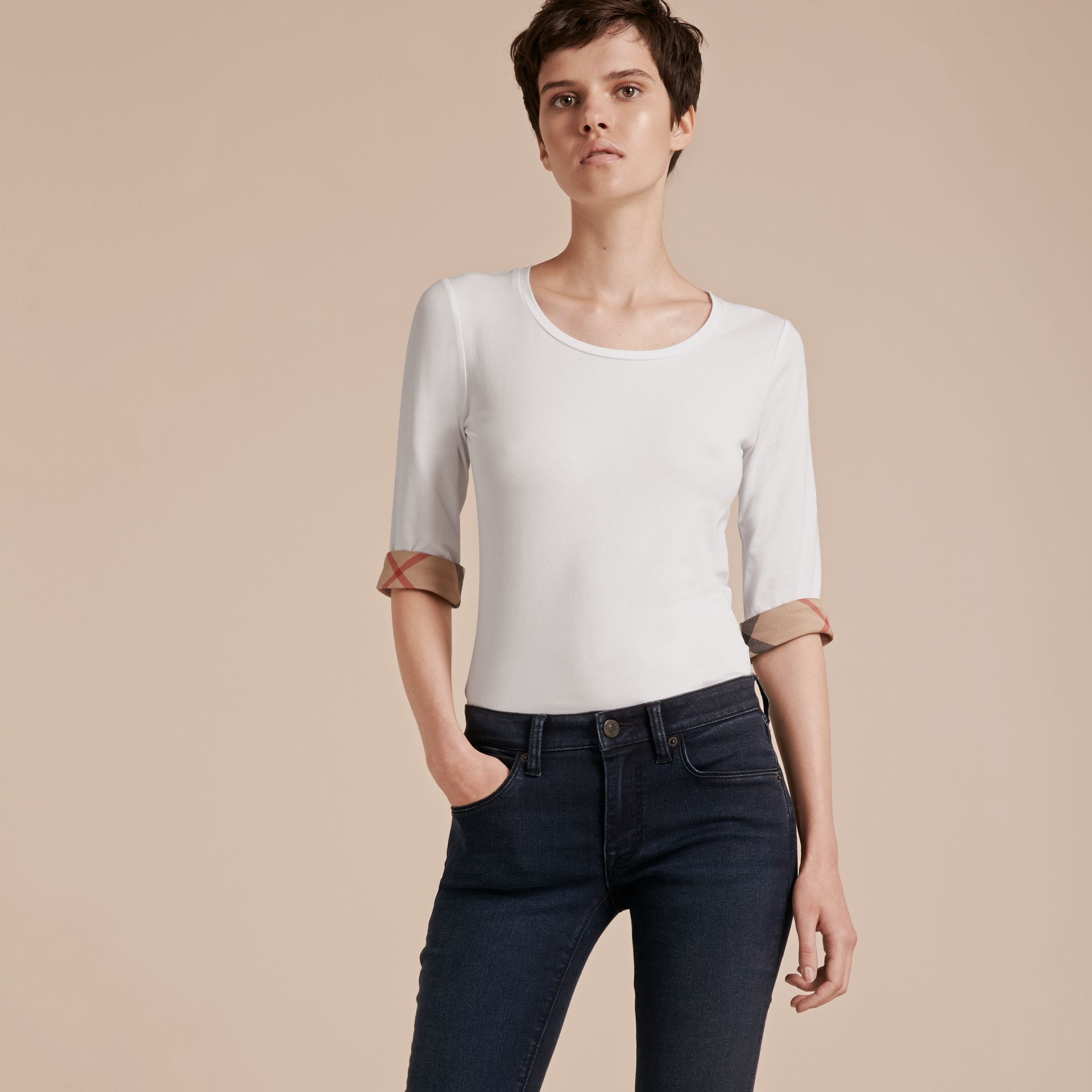 Check Cuff Stretch-Cotton Top in White - Women | Burberry - gallery image 6