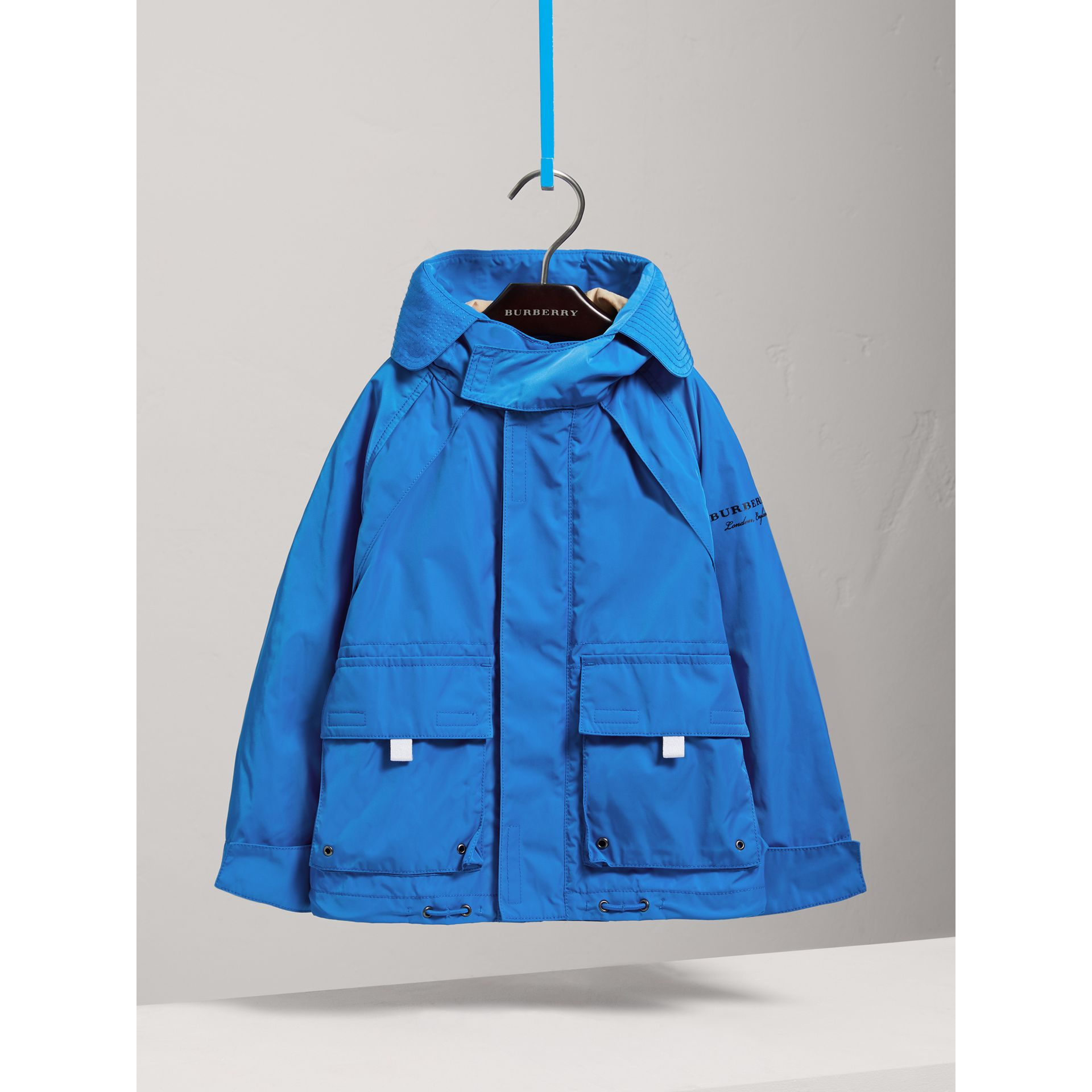 Hooded Shape-memory Taffeta Field Jacket in Azure Blue - Children | Burberry United Kingdom - gallery image 0