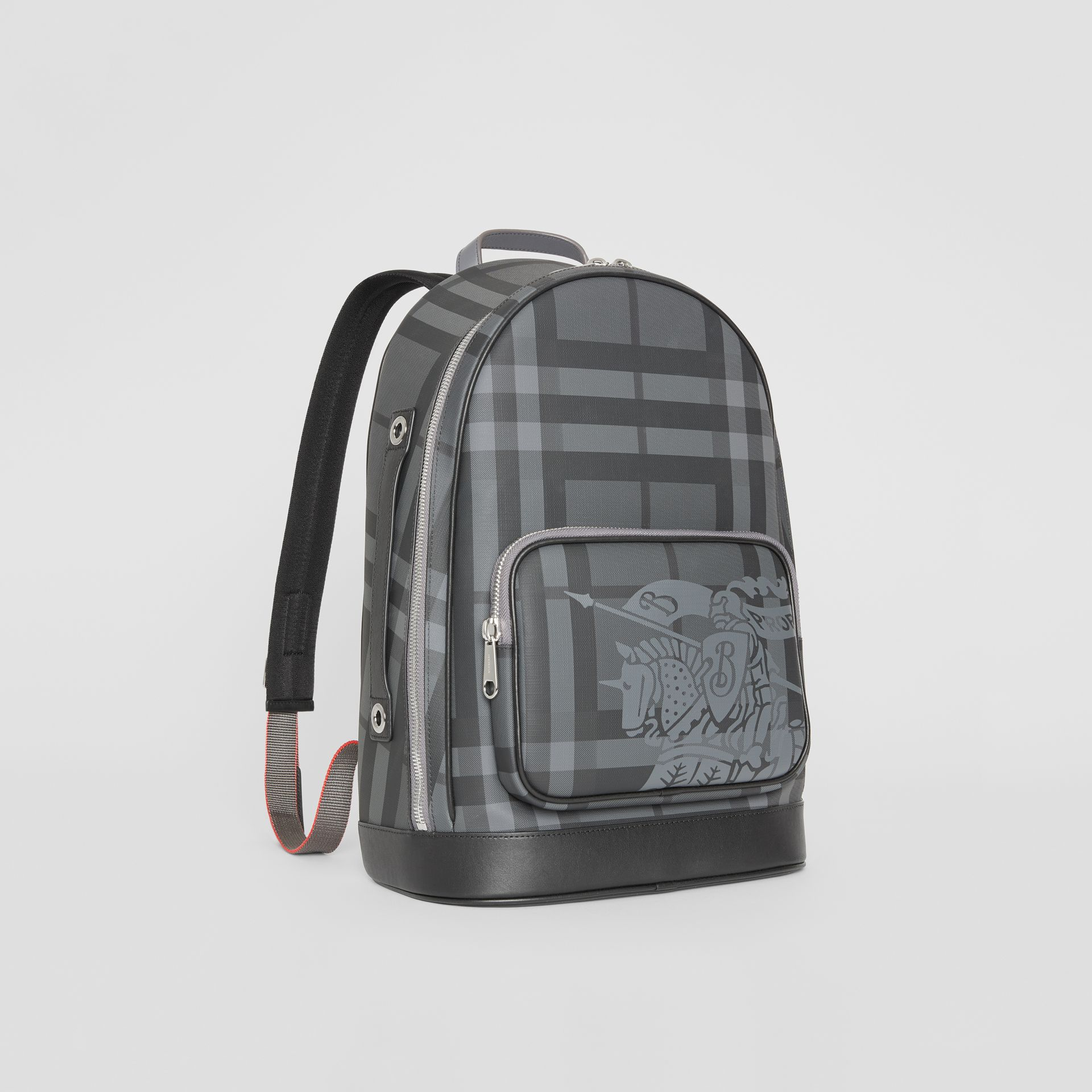 EKD London Check and Leather Backpack in Charcoal/black - Men | Burberry Singapore - gallery image 6
