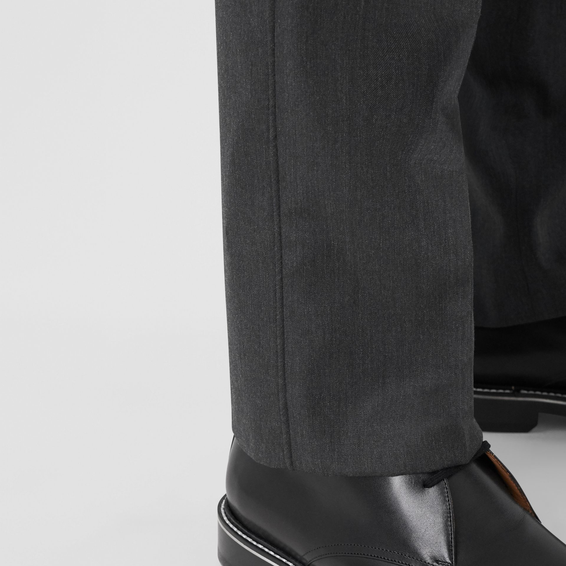 Classic Fit Panelled Wool Tailored Trousers in Charcoal - Men   Burberry United Kingdom - gallery image 4