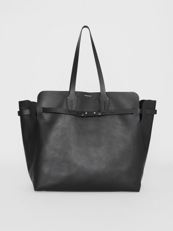 Grand sac The Belt en cuir doux (Noir)