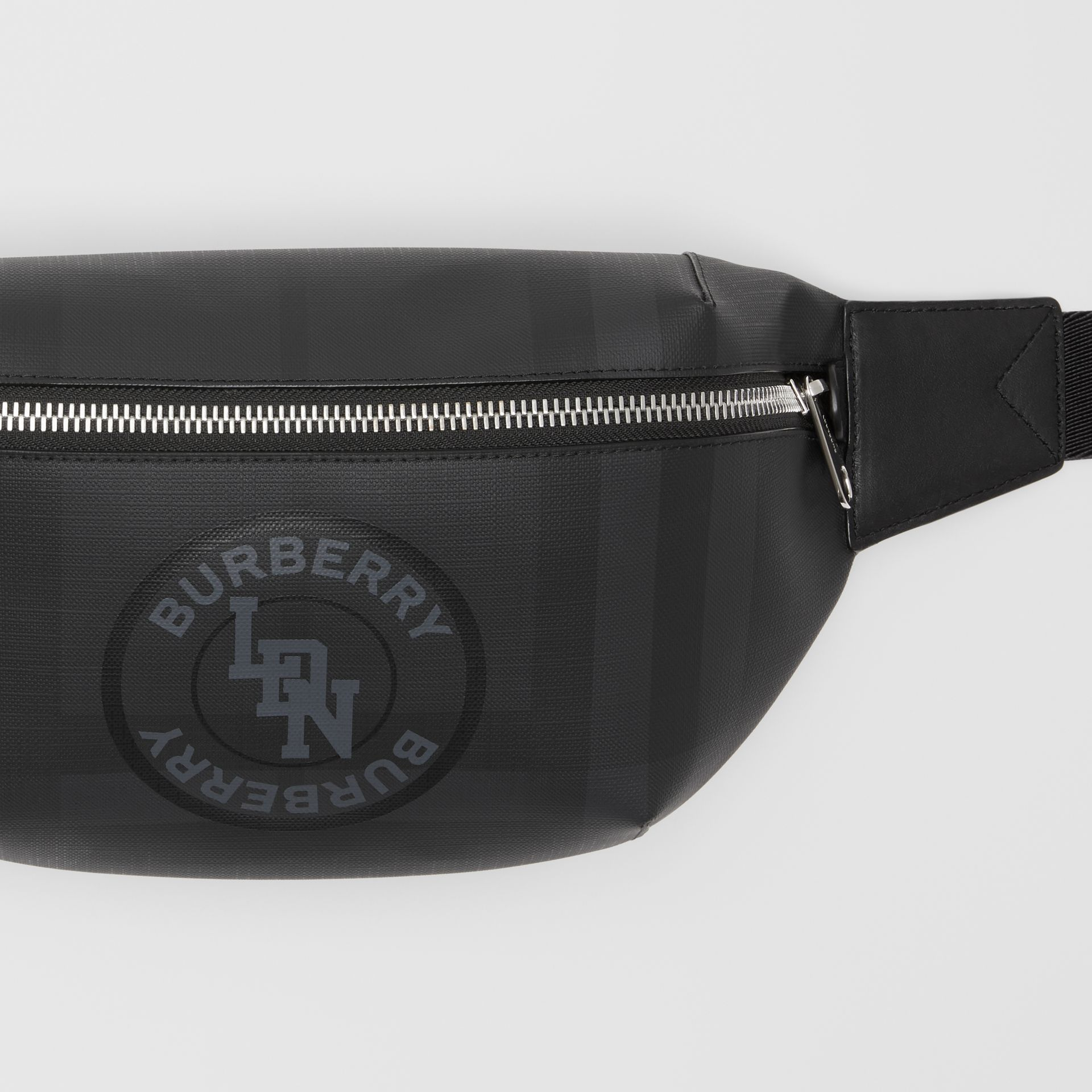 Logo Graphic London Check Sonny Bum Bag in Dark Charcoal - Men | Burberry United Kingdom - gallery image 1