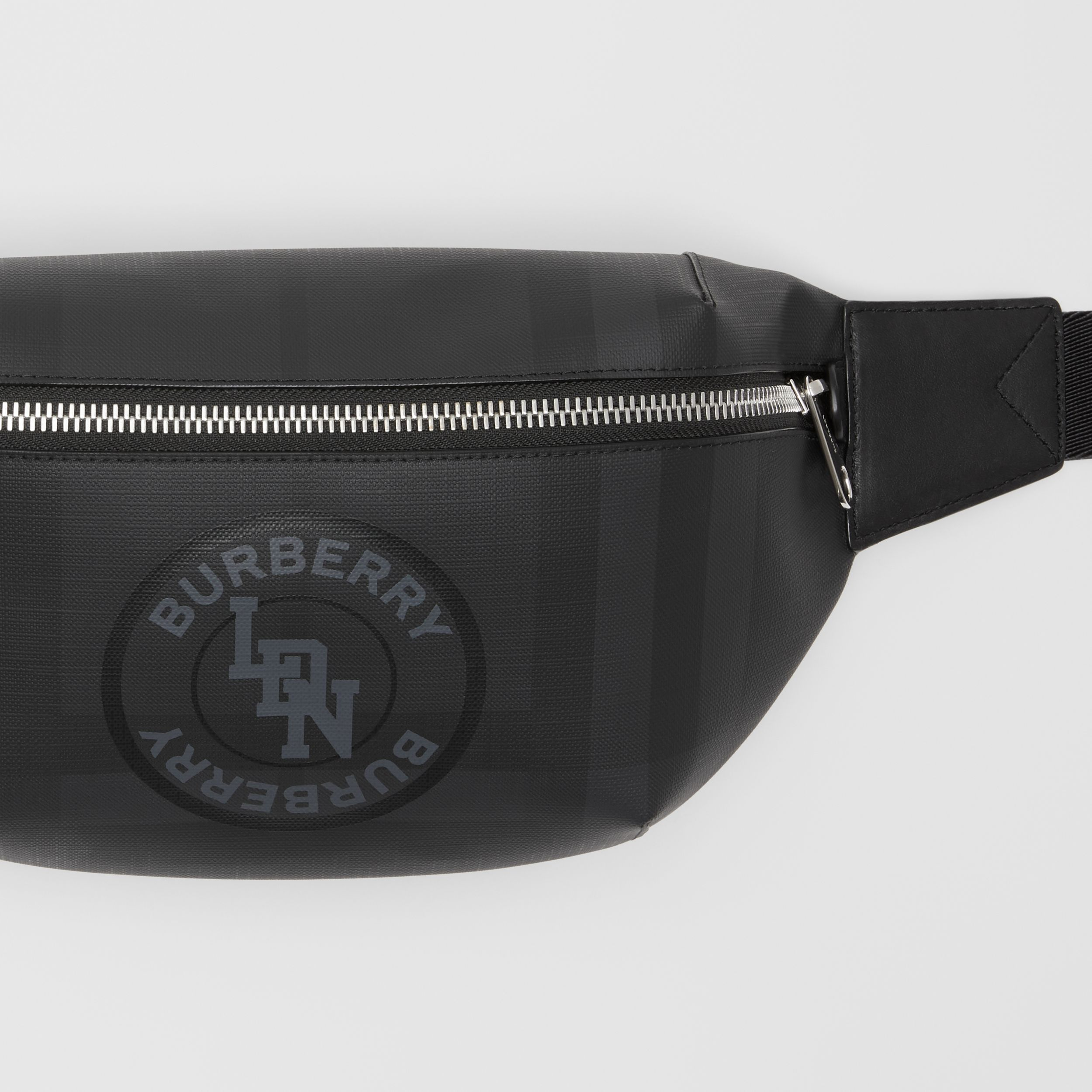 Logo Graphic London Check Sonny Bum Bag in Dark Charcoal - Men | Burberry - 2