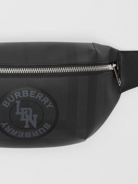 Logo Graphic London Check Sonny Bum Bag in Dark Charcoal - Men | Burberry United Kingdom - cell image 1