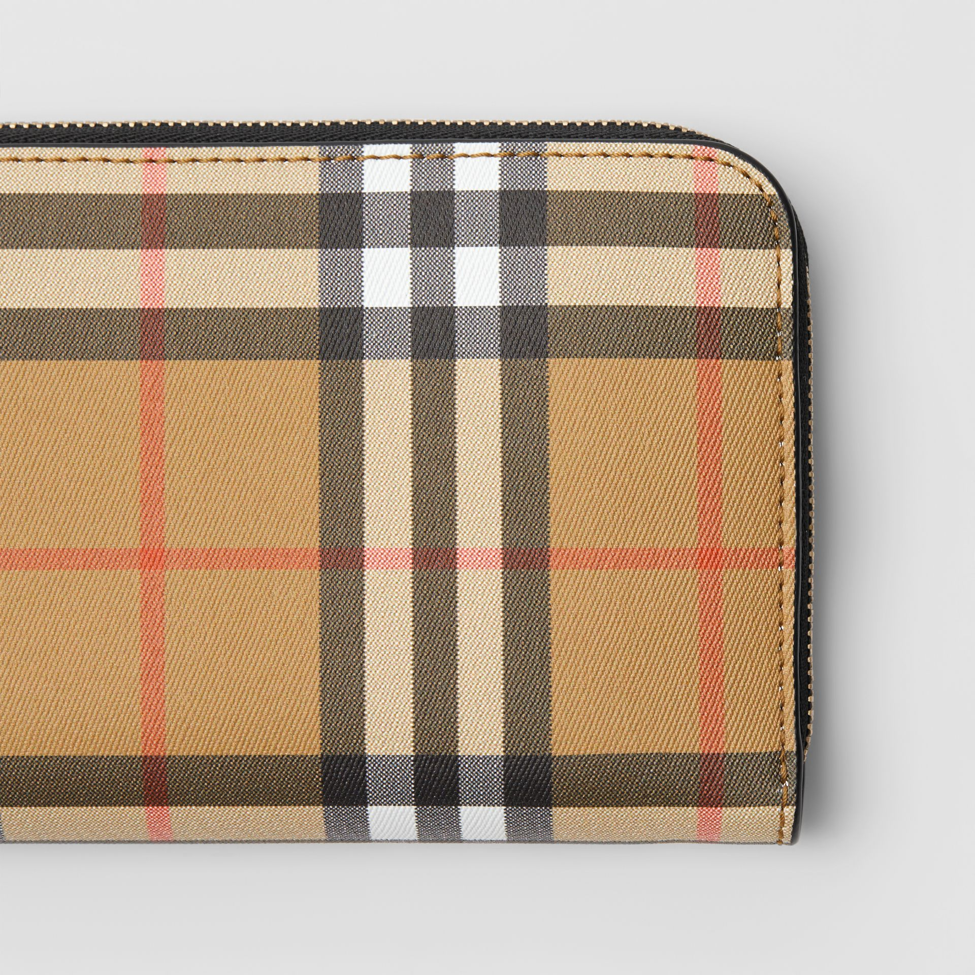 Vintage Check and Leather Ziparound Wallet in Black - Women | Burberry Australia - gallery image 1