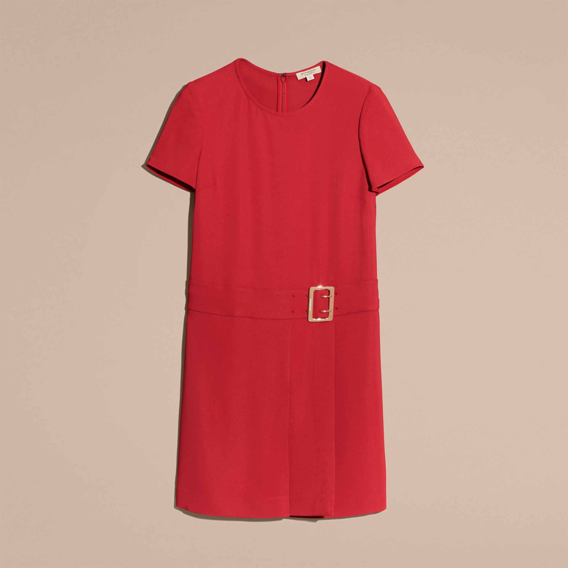 Buckle Detail Pleated Shift Dress in Parade Red - gallery image 4