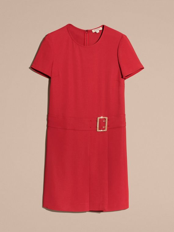 Buckle Detail Pleated Shift Dress in Parade Red - cell image 3