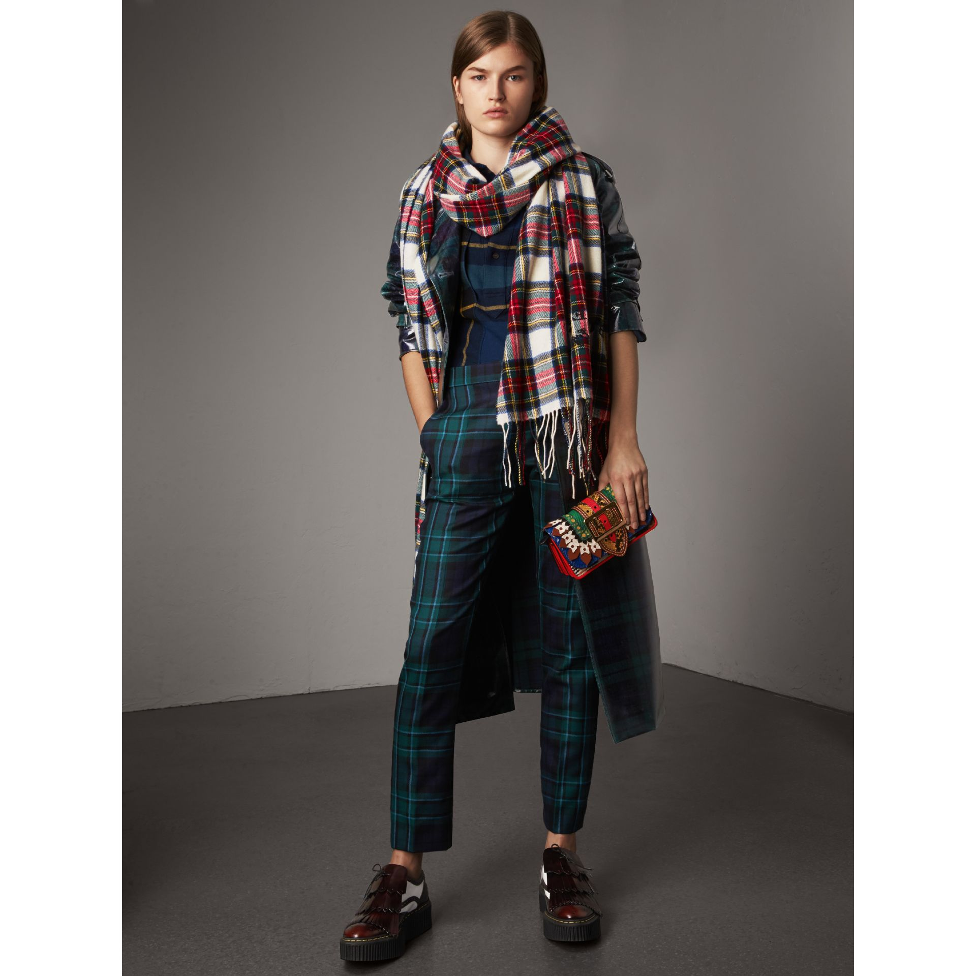 Tartan Wool Flannel Tunic Shirt in Ink Blue - Women | Burberry - gallery image 5