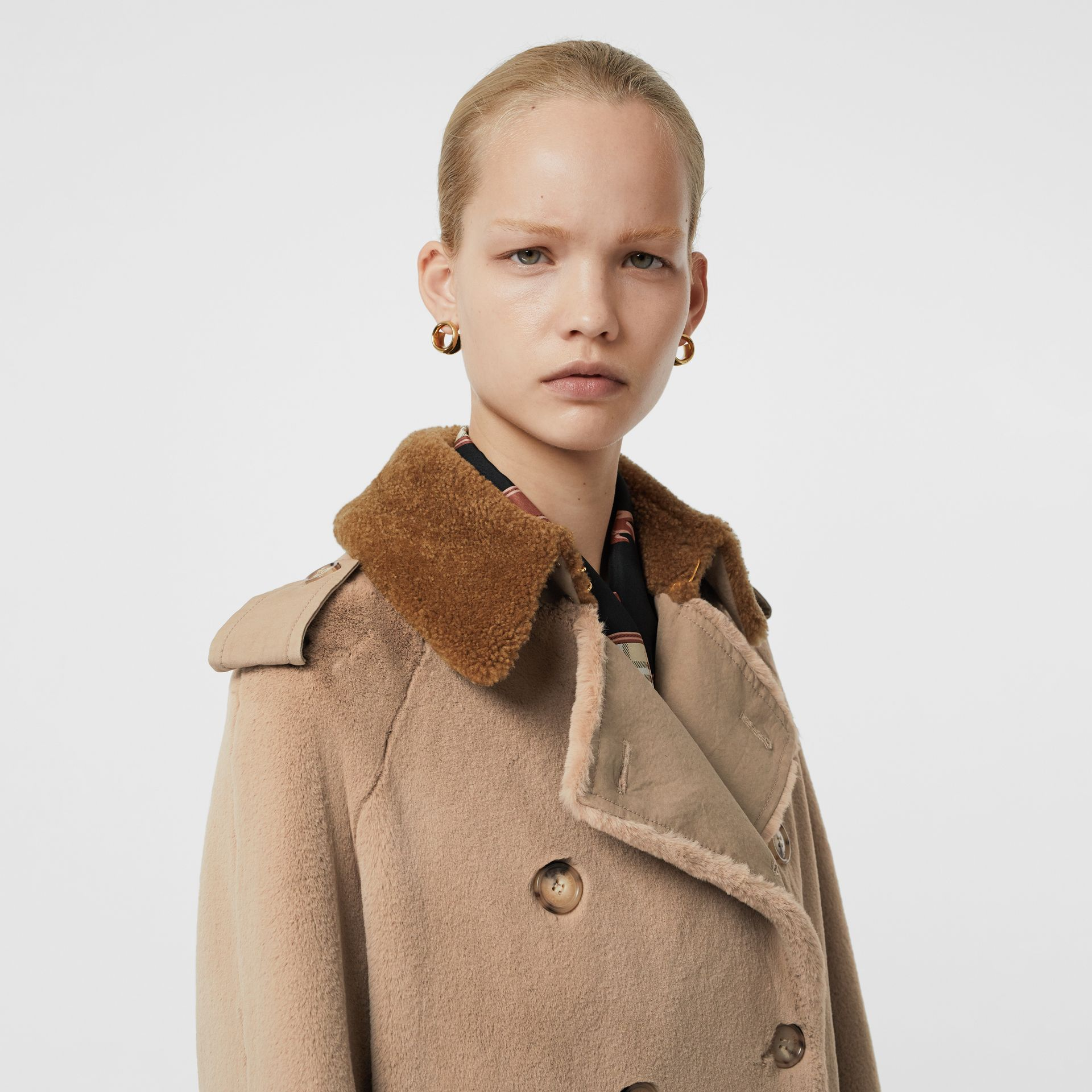 Shearling Trim Faux Fur Trench Coat in Taupe - Women | Burberry - gallery image 1
