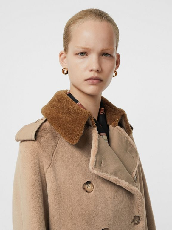 Shearling Trim Faux Fur Trench Coat in Taupe - Women | Burberry - cell image 1