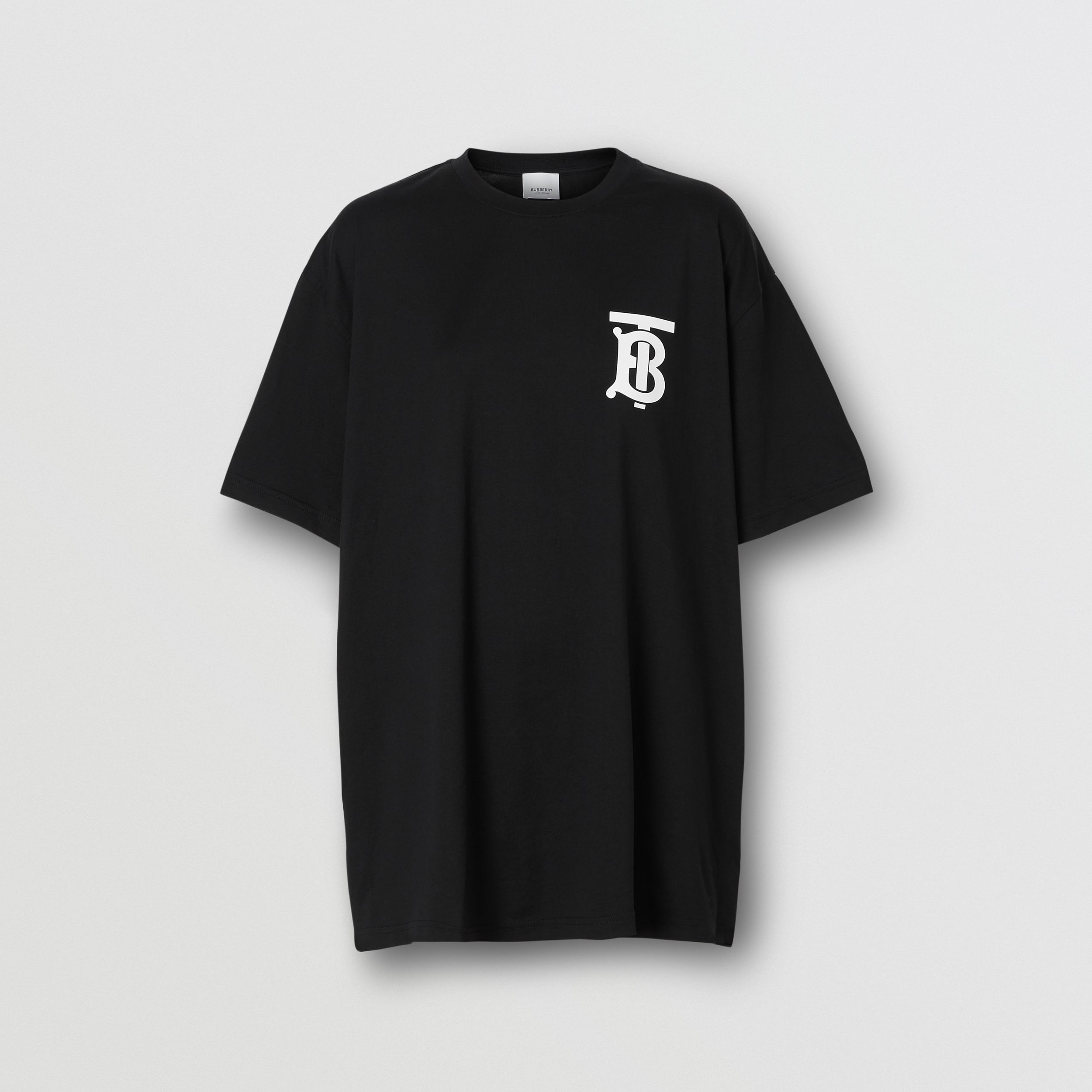 Monogram Motif Cotton Oversized T-shirt in Black - Women | Burberry United States - 4