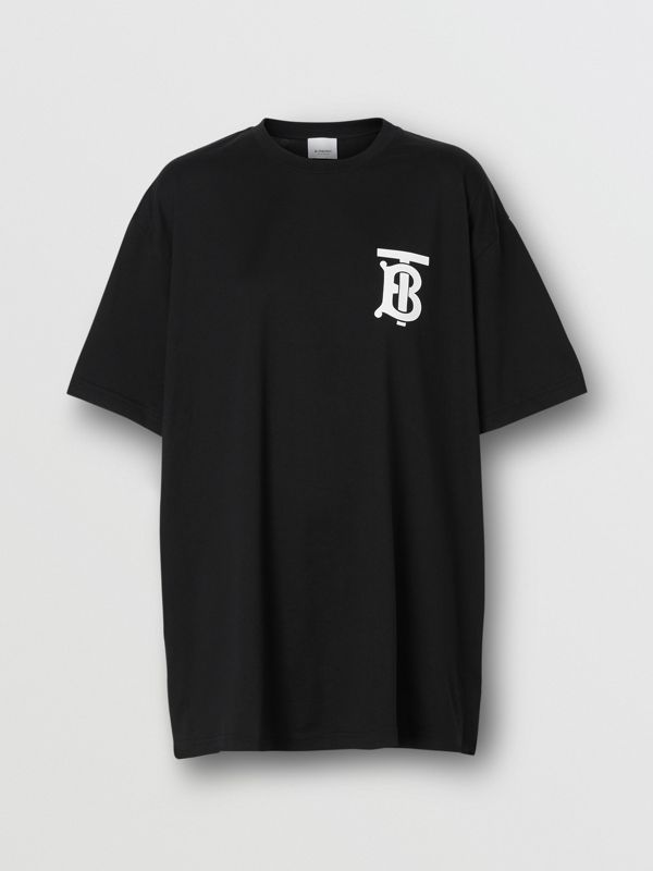 Monogram Motif Cotton Oversized T-shirt in Black - Women | Burberry Australia - cell image 3