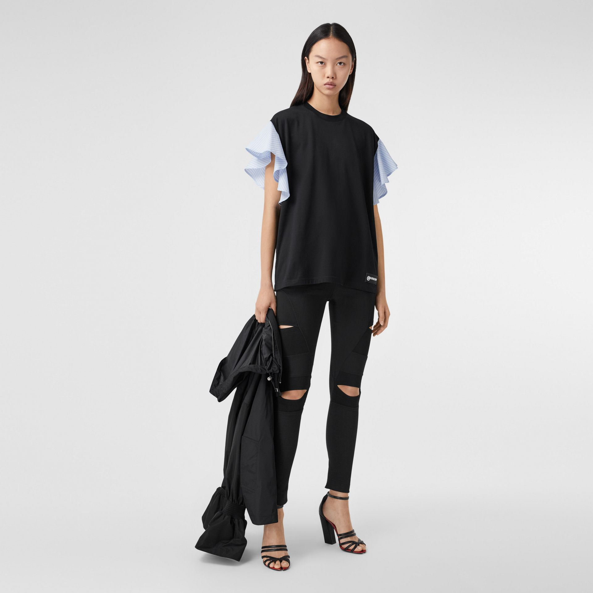 Ruffled Sleeve Cotton Oversized T-shirt in Black - Women | Burberry Hong Kong S.A.R - gallery image 0