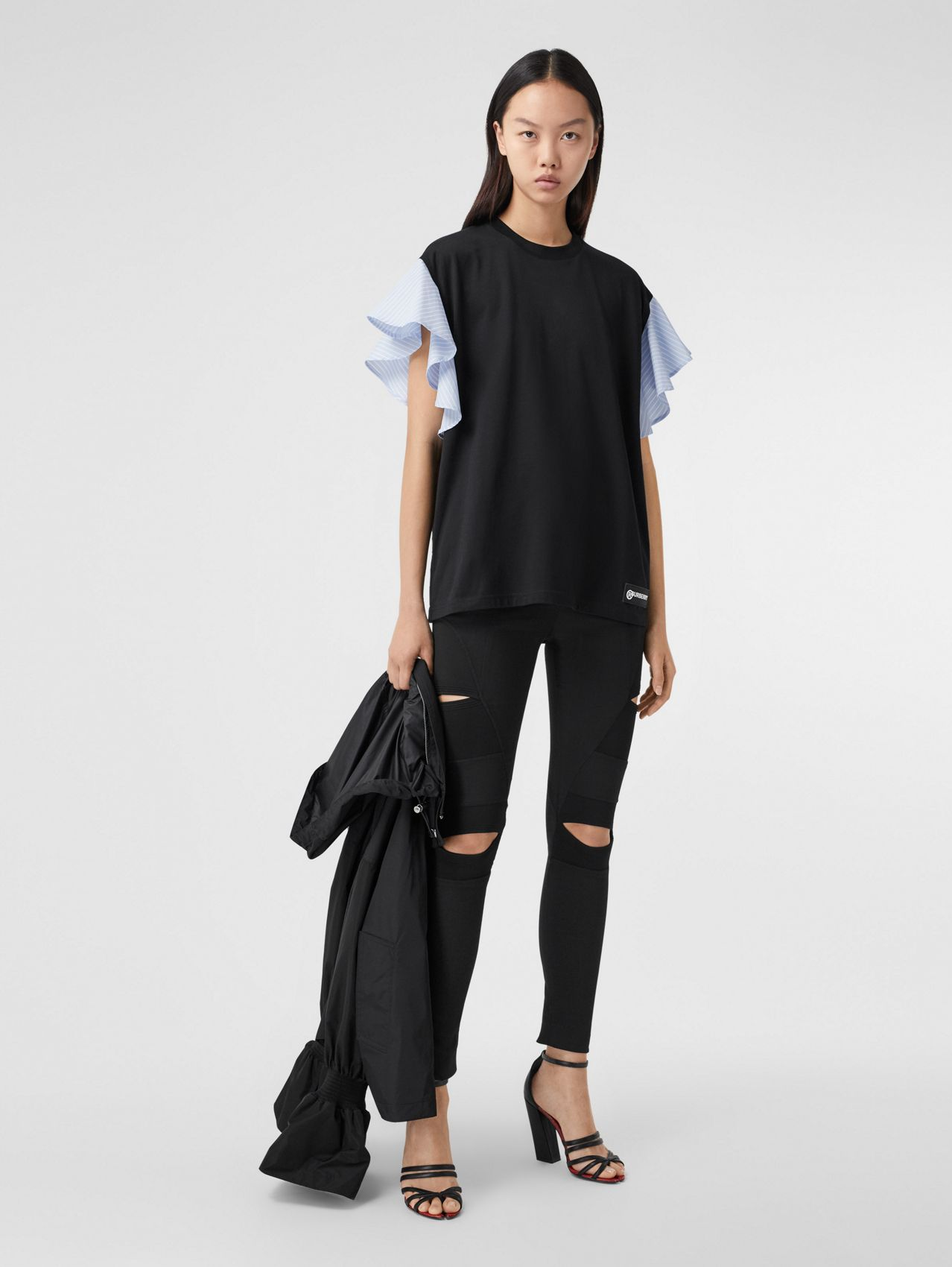 Ruffled Sleeve Cotton Oversized T-shirt in Black