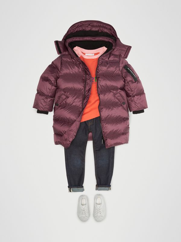Detachable Hood Down-filled Puffer Coat in Beetroot | Burberry - cell image 2