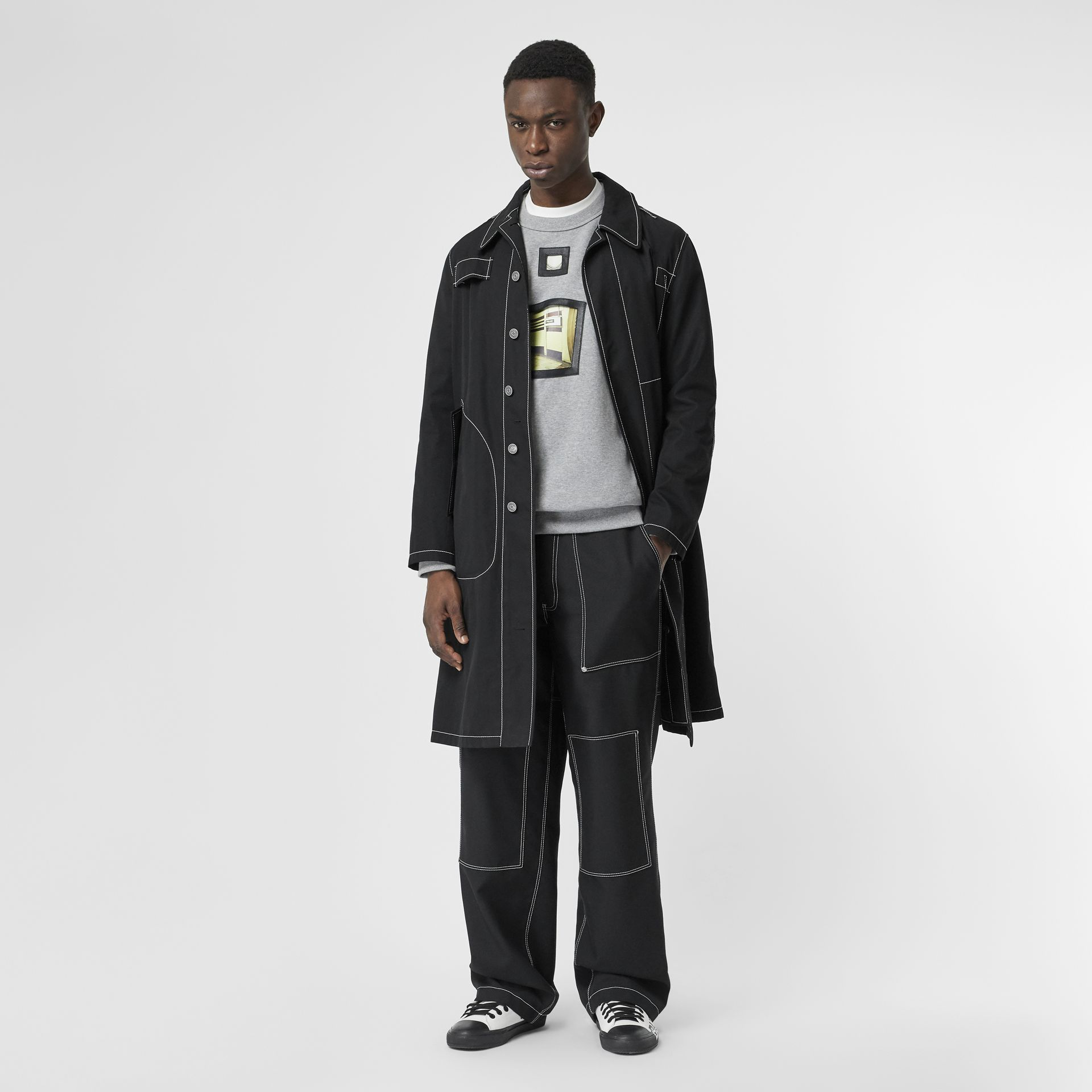 Topstitch Detail Wool Blend Wide-leg Trousers in Black - Men | Burberry United States - gallery image 0