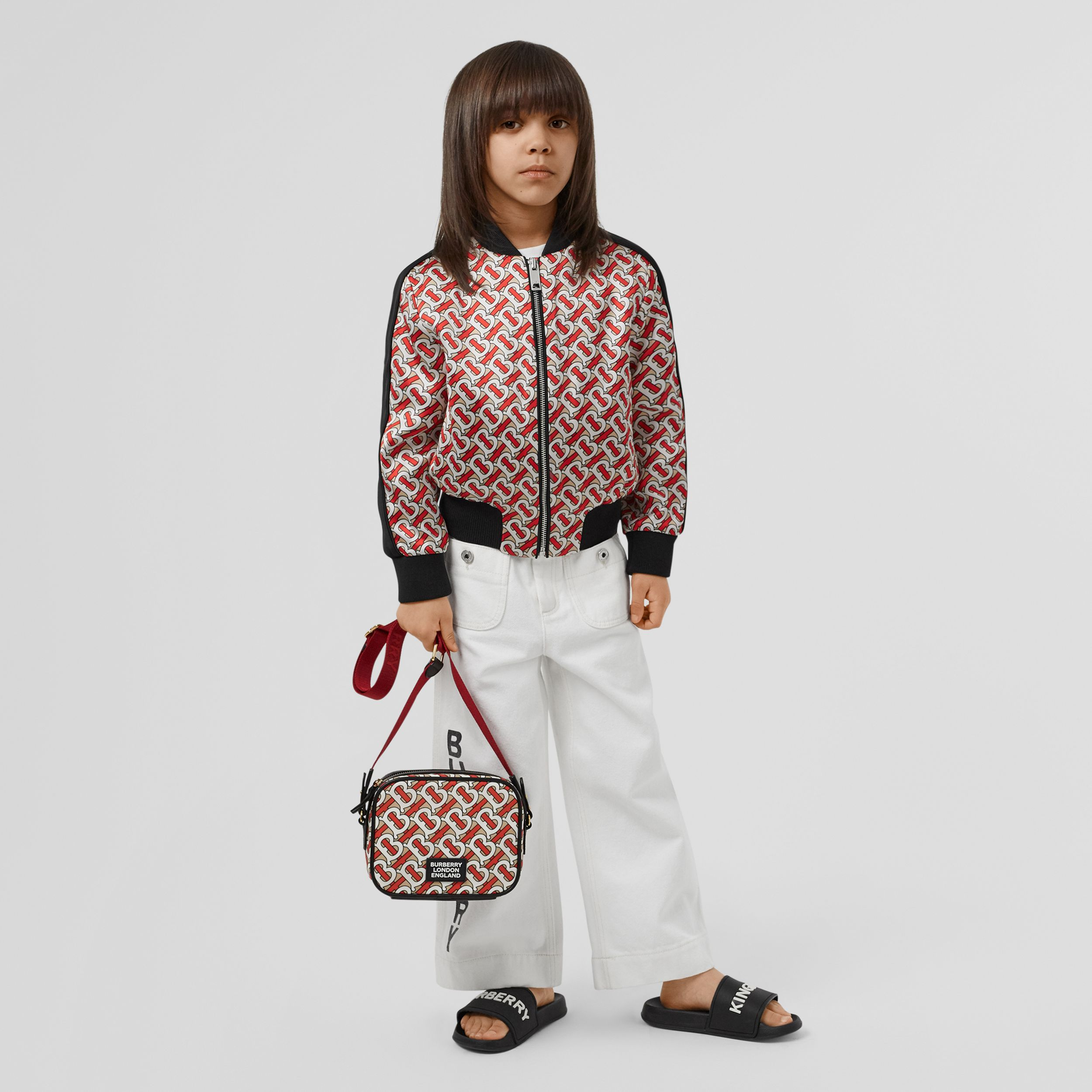 Monogram Print ECONYL® Camera Bag in Vermilion - Children | Burberry United States - 3