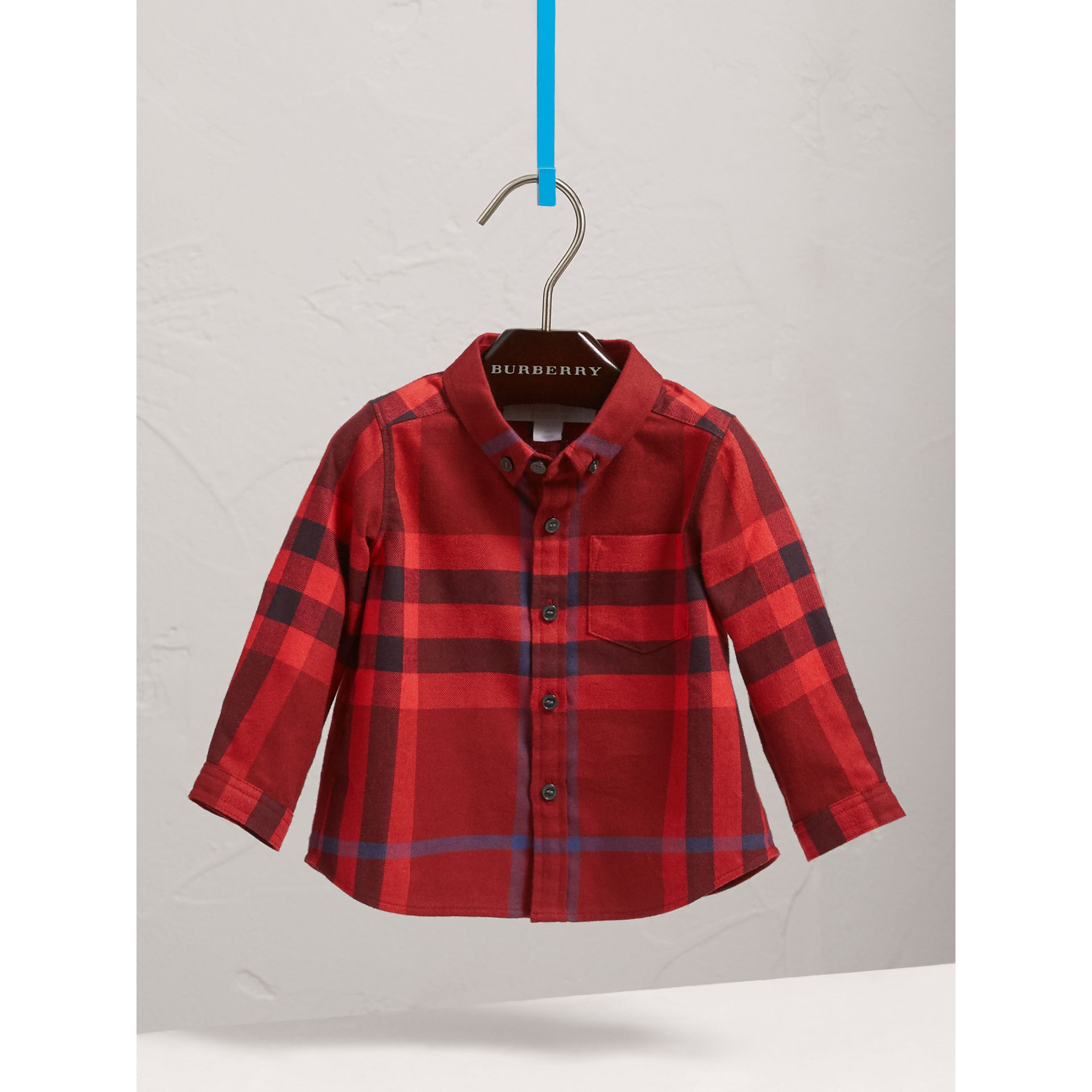 Button-down Collar Check Cotton Shirt in Mahogany Red | Burberry - gallery image 3