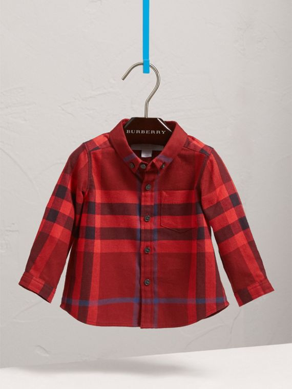Button-down Collar Check Cotton Shirt in Mahogany Red | Burberry - cell image 2