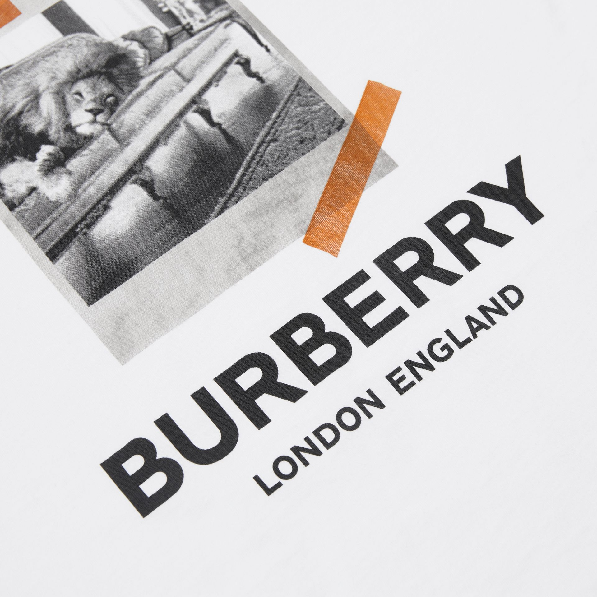 Vintage Polaroid Print Cotton T-shirt in White | Burberry - gallery image 6