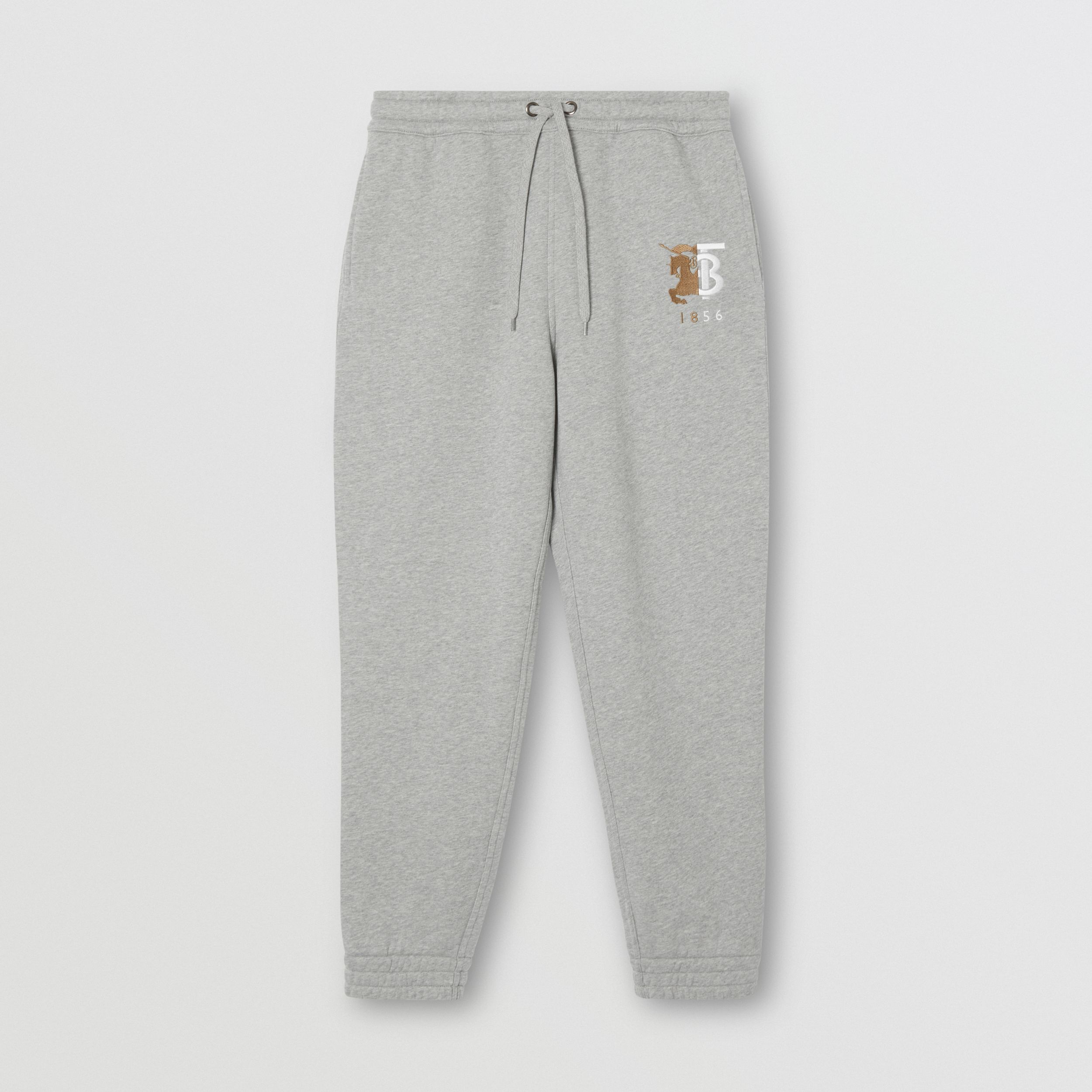 Contrast Logo Graphic Cotton Trackpants in Pale Grey Melange - Men | Burberry - 4