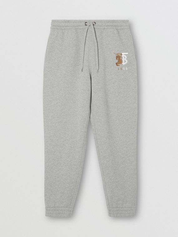 Contrast Logo Graphic Cotton Trackpants in Pale Grey Melange