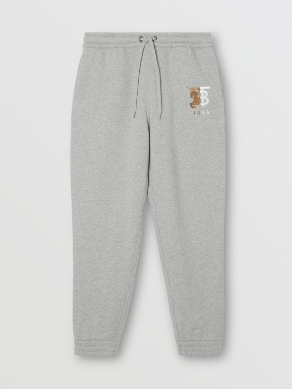 Contrast Logo Graphic Cotton Trackpants in Pale Grey Melange - Men | Burberry United Kingdom - cell image 3