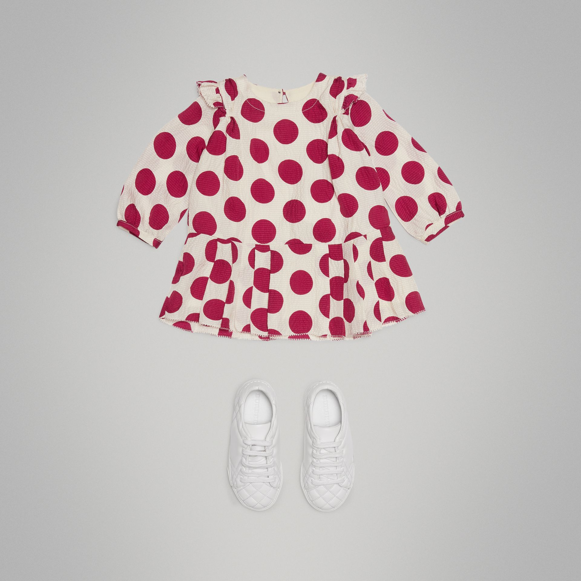 Polka Dot Print Silk Crepe Dress in Windsor Red - Children | Burberry Australia - gallery image 2