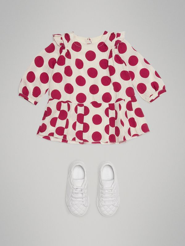 Polka Dot Print Silk Crepe Dress in Windsor Red - Children | Burberry - cell image 2