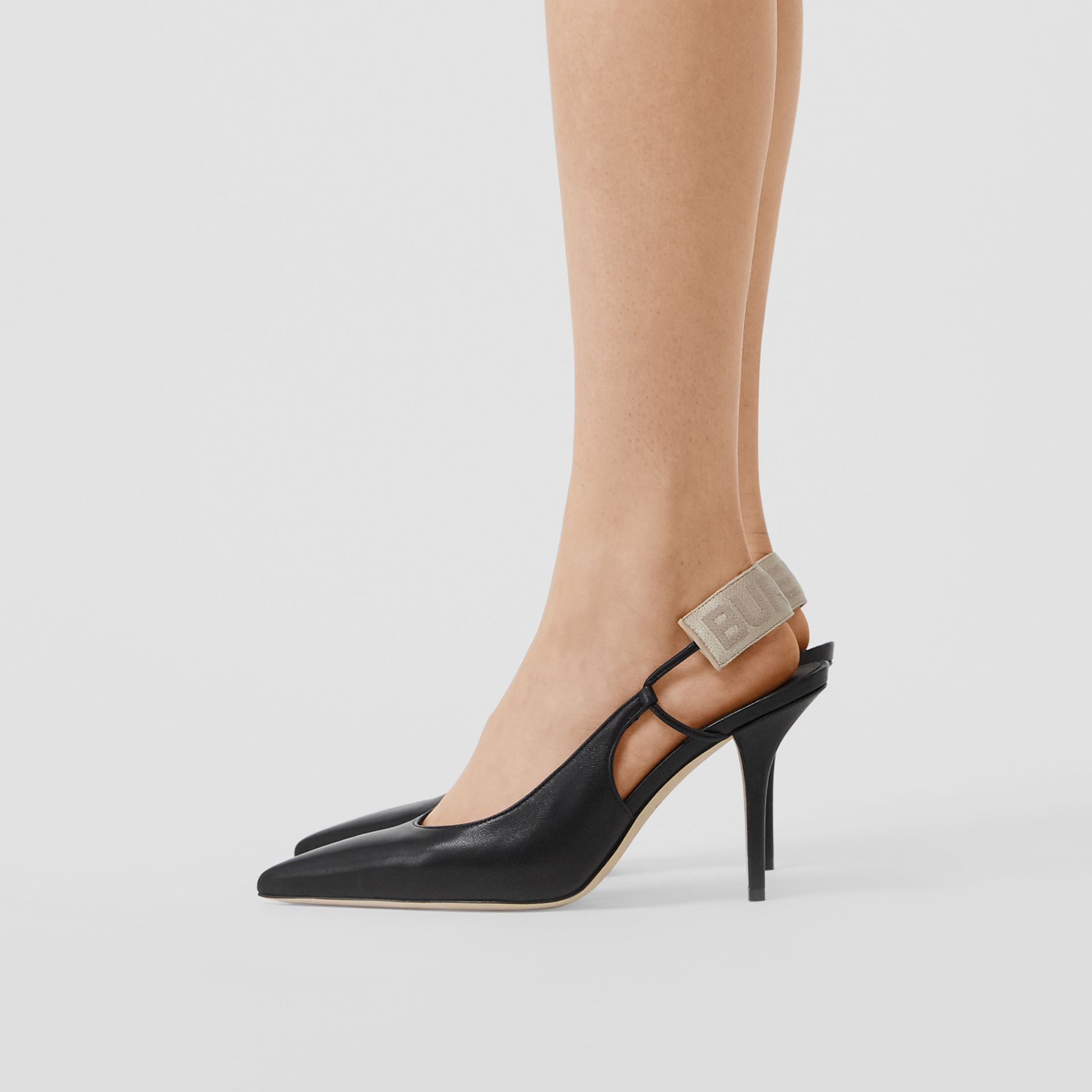 Logo Detail Lambskin Slingback Pumps in Black - Women | Burberry Australia - gallery image 2
