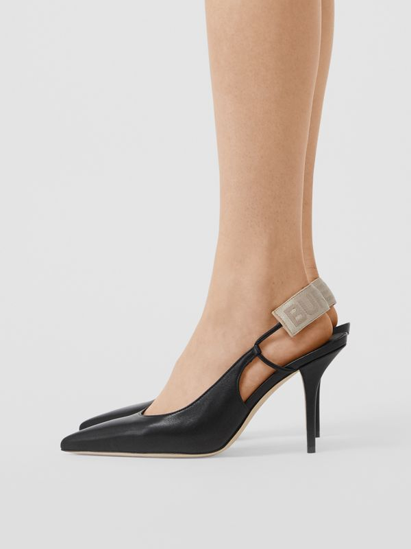 Logo Detail Lambskin Slingback Pumps in Black - Women | Burberry Australia - cell image 2