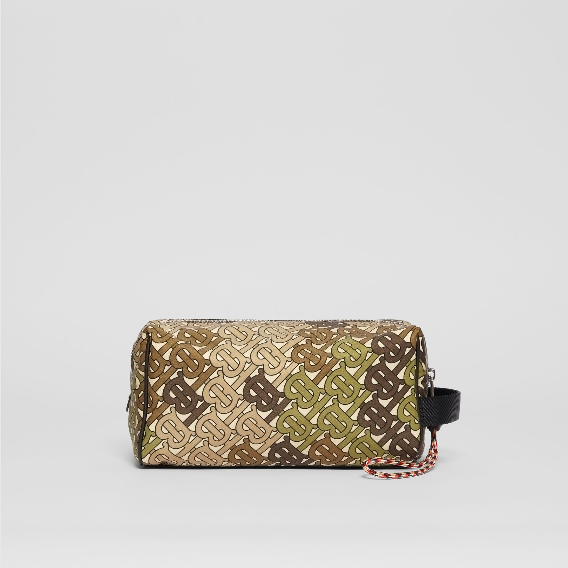 Monogram Print Nylon Pouch in Khaki Green - Men | Burberry Australia - gallery image 0