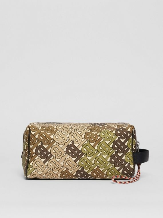 Monogram Print Nylon Pouch in Khaki Green