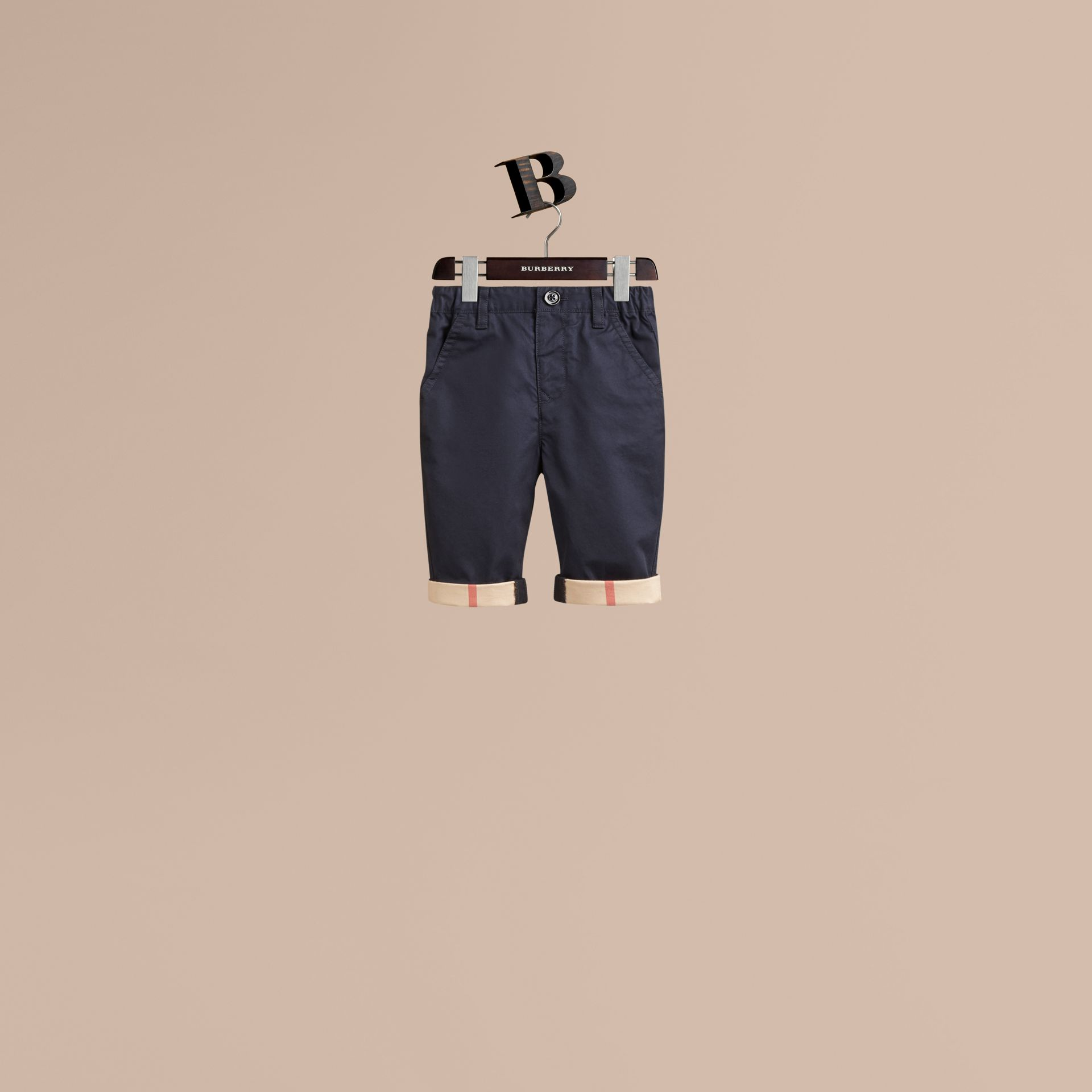 Check Cuff Chinos in Ink - Boy | Burberry Canada - gallery image 1