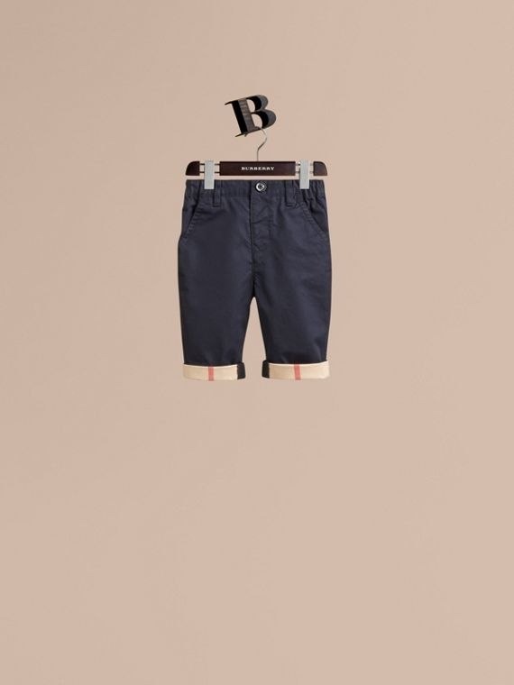 Check Cuff Chinos in Ink - Boy | Burberry