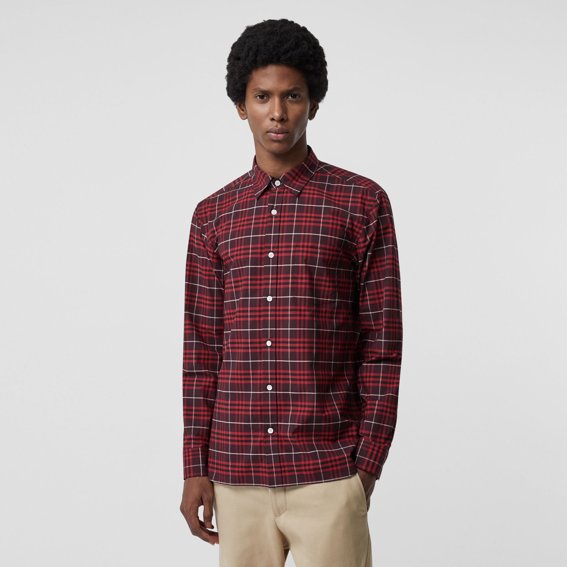 Check Stretch Cotton Shirt in Maroon - Men | Burberry - gallery image 0