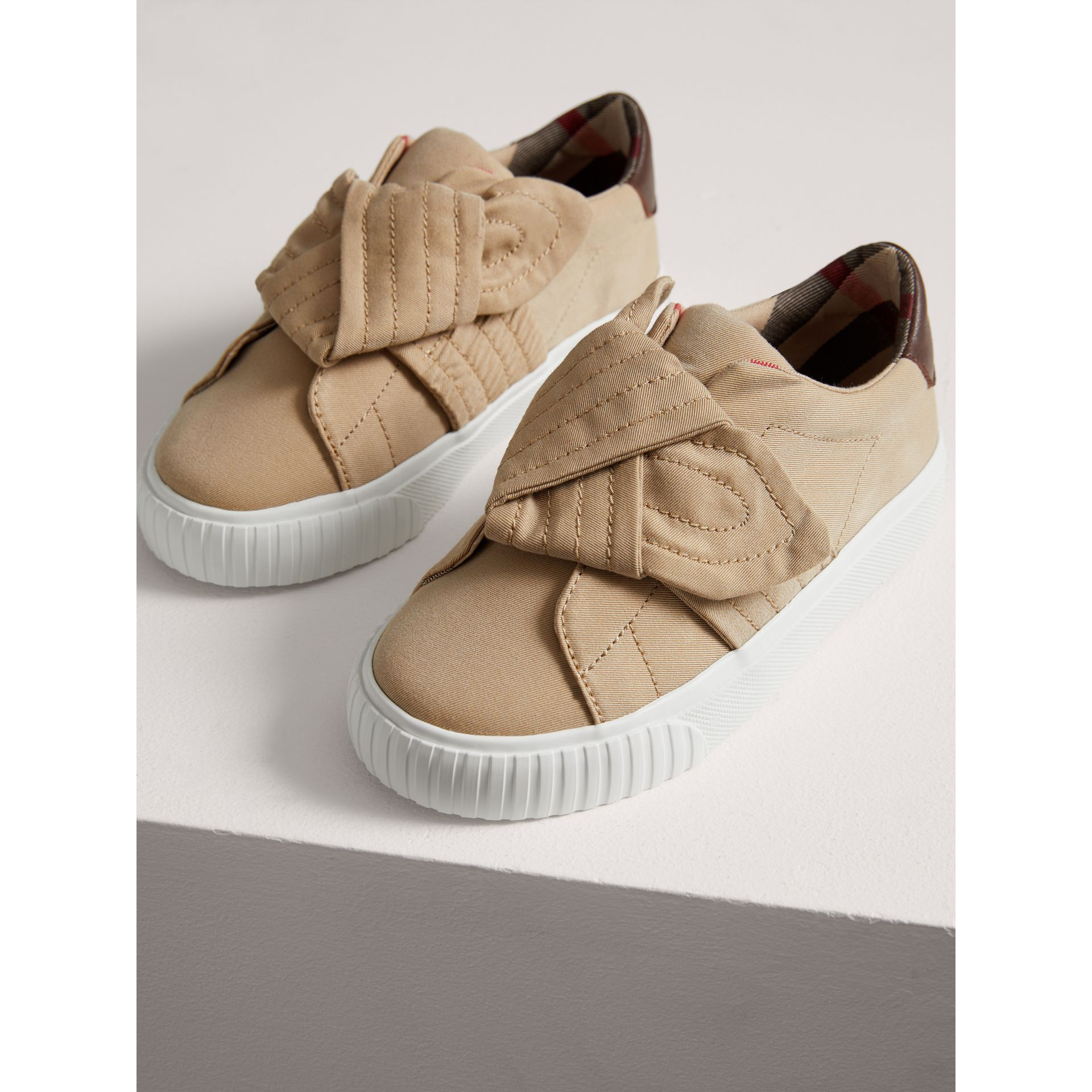Trench Knot Cotton Gabardine Sneakers in Honey | Burberry - gallery image 3