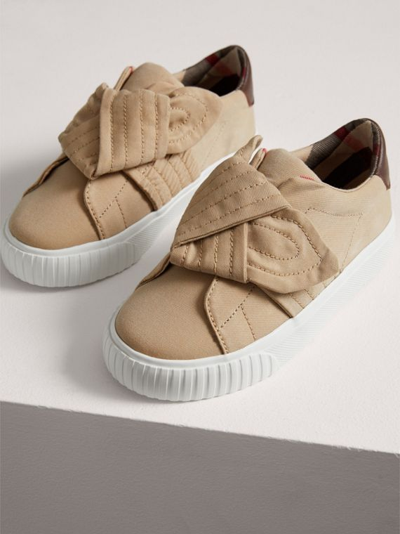 Trench Knot Gabardine Trainers in Honey | Burberry - cell image 3